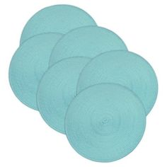 """polypropylene Woven Round Placemats - Set of 6 - Aqua. Set of 6 round, braided placemats has a 14.75"""" diameter, shake briskly and wipe with damp spong for easy care"""