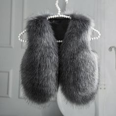 Kids Faux Fur Vest Grey