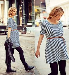 Stripes, leggings and boots - easy maternity style #stylishpregnancy #maternitystyle
