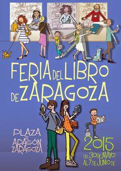 Cartel Día del Libro y Feria del Libro de Zaragoza 2015