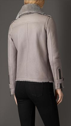 Pale grey Shearling Aviator Jacket with Oversize Collar - Image 1 - Пошук Google