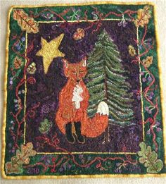 Primitive Hooked Rug, design could be inspiration for a quilted wallhanging.
