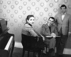 Maria Callas, Luchino Visconti and Leonard Bernstein preparing Bellini's La Sonnambula (1955)