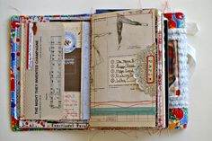 ROD Journal - Catherine - I like how the border paper (left) works as a flap. Loved the stitching back and fourth and the silver doily too!