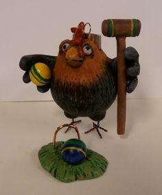Chicken Croquet chicken by darbella designs in by darbelladesigns, $29.00