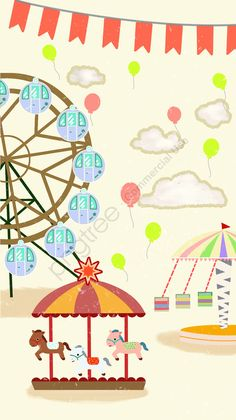 Cartoon Background, Background Patterns, Balloon Clouds, Balloons, Farris Wheel, Funny Iphone Wallpaper, Cartoon Posters, Amusement Park, Drawing For Kids