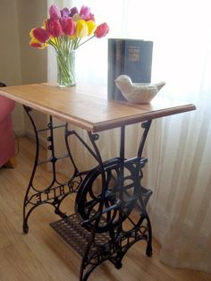 These are really interesting tables, made using bases of antique sewing table bases. The bases are wrought iron and generally about Singer Table, Singer Sewing Tables, Sewing Machine Tables, Antique Sewing Machines, Antique Sewing Tables, Reclaimed Wood Coffee Table, Furniture Update, Cool Tables, Decoration