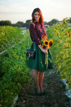 Plaid shirt with Kelley green flirty skirt and lots of sunflowers, Michael lord watch, spiked leather bracelet and Rebecca Minkoff mini mac side bad     www.afancyaffair.com    {Still Mad for Plaid} | A Fancy Affair