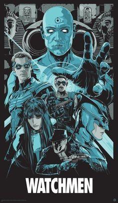 Ken Taylor's New Mondo Posters - Watchmen Dc Comics Characters, Dc Comics Art, Marvel Dc Comics, Marvel Wolverine, Comic Books Art, Comic Art, Dr Manhattan, Ken Taylor, Comic Manga