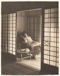 """Olga Reclining in a Wicker Chair, Japan"" by Adolf de Meyer. 1900s–1910s; Medium: platinum print. (http://www.metmuseum.org/collections/search-the-collections/190014615)"