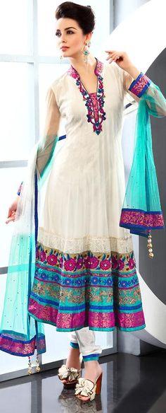 $230.91 White Net Thread and Stone Work Long Anarkali Salwar Kameez 22933