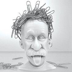 Mustard Magnetic Paper Clip Holder, Albert Einstein, Desk