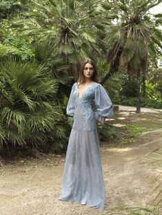 32 Plunging Neckline Long Dress with Bishop Sleeves Fantasy Gowns, Character Costumes, Historical Clothing, Plunging Neckline, Fall 2018, Beautiful Eyes, New Dress, The Dreamers, Ready To Wear