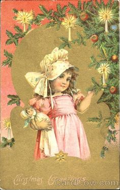 Girl with Doll Christmas Greetings