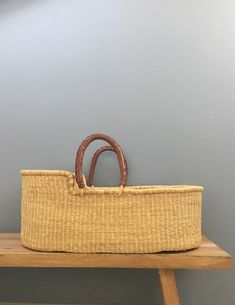 Baby Bassinet / Natural Moses Basket, Baby Bassinet, Boho Nursery, Natural Baby, Straw Bag, Hand Weaving, Elephant, Baskets, Bags