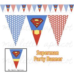 You will receive two digital PDF files for a Superman printable party banner. There are 2 PDF files which includes 3 pennants each - 1 Superman Superman Birthday Party, Boy Birthday Parties, Baby Shower Parties, Birthday Ideas, Superhero Teacher, Superhero Party, Superman Baby Shower, Fiesta Decorations, Geek Crafts