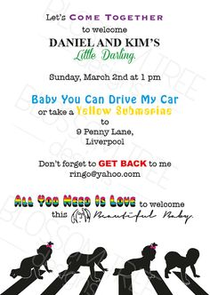 The Beatles Baby Shower Invitation, Unisex By BlossomTreeDesigns