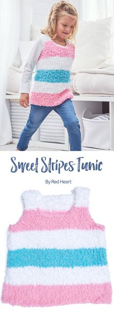 Sweet Stripes Tunic free knit pattern in Buttercup.