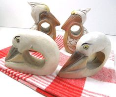 Wood Napkin Rings Pelican and Swan Napkin Holders by ReneesRetro  THIS ITEM SOLD