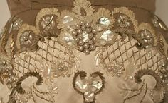 """Another detail """"Oriane"""" by Balmain.  Beads, sequins, mother-of-pearl and chenille tread…so beautiful. And by the way LESAGE, who else!"""