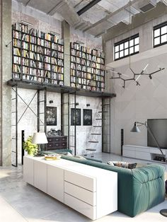 Industrial Style Loft with charming elements to add to your home decor. A breath of fresh air into your industrial style loft. In an industrial style world, the interior design project of today will m Design Loft, Loft Interior Design, Deco Design, Library Design, Design Design, Design Bedroom, Loft Estilo Industrial, Industrial House, Industrial Style