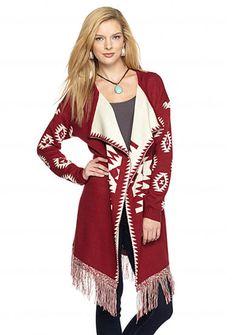 New Directions® Aztec Fringe Cardigan