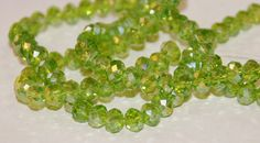 6x4mm Transparent Lime Green Chartreuse AB with Gold Highlights Rondelle Crystals by RainandSnowBeading on Etsy