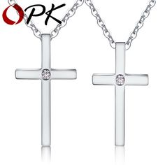 Classic Cross Cross Pendant Necklace For Lover Platinum plated Inlaid Cubic Zirconi Smooth Design Valentines Day Gift HD1160