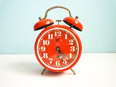 Vintage Red Orange Alarm Clock twin bells by EuroVintage on Etsy, €30.00