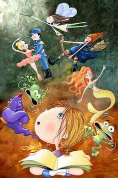 20 fantastic illustrations to encourage reading, Reading Cartoon, Reading Art, Girl Reading, I Love Books, My Books, Book Corners, World Of Books, Funny Vines, Children's Book Illustration