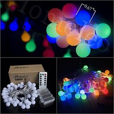 Homeleo 16.4ft 50led Remote Dimmable Globe String Lights, Battery Powered Multi-color Colorful Ball Starry Blinking Twinkle Flashing Fairy Starry Light String ** SPECIAL OFFER AHEAD! : Christmas Home Decor