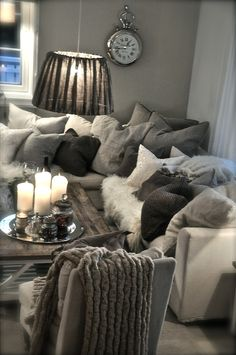 I love neutrals and big comfy pillows ... maybe slightly tuned down though