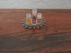 Items similar to Three Pink Perfume Bottles On Silver Tray on Etsy Pink Perfume, Perfume Bottles, Silver Trays, Class Ring, Miniatures, Projects, Blog, Etsy, Blue Prints