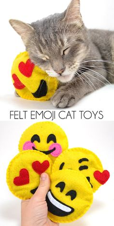 I made some happy emoji catnip stuffed cat toys for my kitties since they seem to be digging their new Meow Mix food so much. Read all about it and get the tutorial and patterns to make some for your kitty cats! #ClubMeowMix #ad