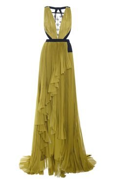 J Mendel gown | Neck Gown With Embroidered Tulle Insert by J. Mendel for Preorder on ...