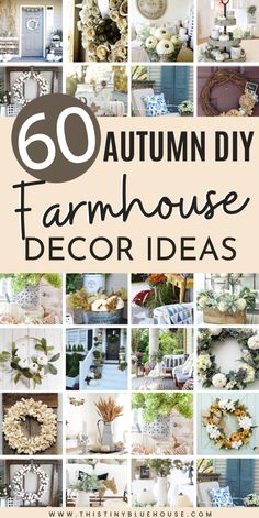 Add some rustic farmhouse charm to your home this fall with these DIY farmhouse fall decor ideas. Over 50 gorgeous fall decor ideas to glam up your home. Farmhouse Fall Wreath, Farmhouse Decor, Farmhouse Style, Farmhouse Rules, Farmhouse Ideas, Rustic Decor, Modern Farmhouse, Cool Diy, Diy Projects For Fall