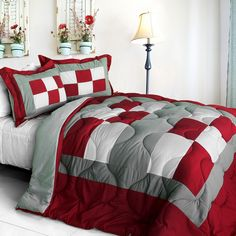 [Sub-box] Quilted Patchwork Down Alternative Comforter Set (Full/Queen Size)