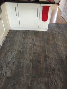 Polyflor Camaro Ocean Slate with a Graphite Grout Strip Luxury Vinyl Tile Flooring, House Extensions, Grout, Kitchen Flooring, Graphite, Slate, Hardwood Floors, Kitchen Ideas, Ocean