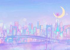 Aesthetic Desktop Wallpaper, City Wallpaper, Anime Scenery Wallpaper, Aesthetic Backgrounds, Cute Laptop Wallpaper, Cute Pastel Wallpaper, Kawaii Wallpaper, Sailor Moon Background, Sailor Moon Wallpaper