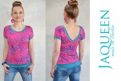 T-Shirts uni V-Ausschnitt - Shirt Jersey  Muster Grafik - ein Designerstück von JAQUEEN-handmade-streetwear-berlin bei DaWanda