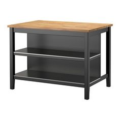 IKEA - STENSTORP, Kitchen island, Free-standing kitchen island; easy to place where you want it in the kitchen.Two fixed shelves in stainless steel, a hygienic, strong and durable material that's easy to keep clean.Countertop with a top layer of solid wood, a hardwearing natural material that can be sanded and surface treated when required.Good environmental choice, because the method of using a top layer of solid wood on particleboard is resource-efficient.