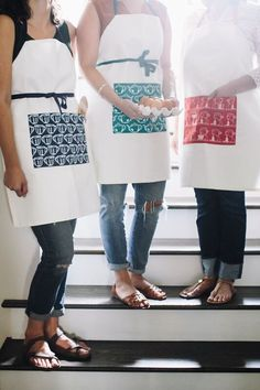 Adjustable adult aprons made in the USA by Belle & Union Co. Adult and kid sets available.