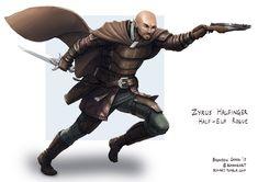 Character commission of a half-elf rogue. C: Zyrus Halfinger, Half-Elf Rogue