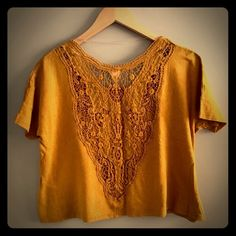 Mossimo mustard yellow lace crop top Perfect condition. Never worn. Loose fit. Fits a 4-6 best. Purchased at Target. Mossimo Supply Co. Tops Crop Tops