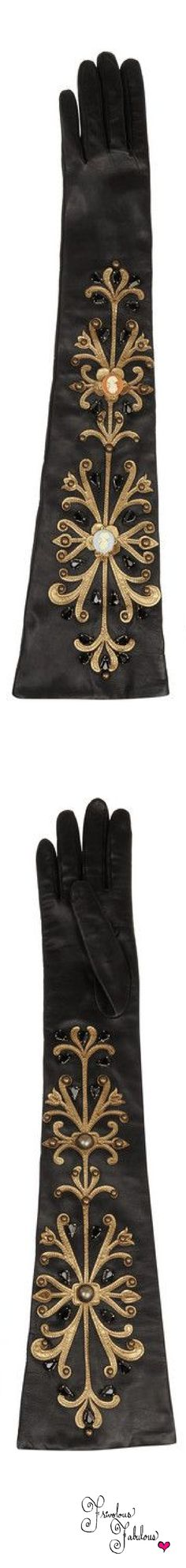 Frivolous Fabulous - Dolce & Gabbana Black Silk Gloves with Gold Embroidery