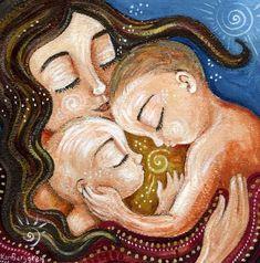 Igual adoración madre con 2 hijos limitada edición 12 x 12