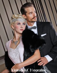 1920s, 1930s, gatsby, fashion Copyright 2013 VintageKC Magazine   Producer: Erin Shipps, VintageKC Magazine  Photography: Nikki Moreno-Whipple, Vixen Pin-Up Photography  Makeup: Candy Cunningham, Vixen Pin-Up Photography  Hair: Brook Thompson, Head House Hair Parlour  Styling: Calli Green and Erik Mundorff, Men's Wearhouse  Models: Alley Gage and Don Lampert, Manifest Talent