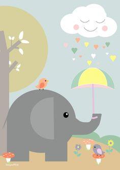 Een leuke poster van Designed4kids met daarop een schattige olifant die een paraplu draagt. Leuk voor in de kinderkamer.