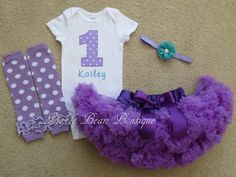 Baby Girl 1st Birthday Outfit Purple Teal by PickleBeanBoutique