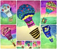 Hot air Balloon Marker and watercolor Middle School Art, Art School, Drawing For Kids, Art For Kids, How To Draw Balloons, 3rd Grade Art, Grade 3, Robots Drawing, Art Curriculum